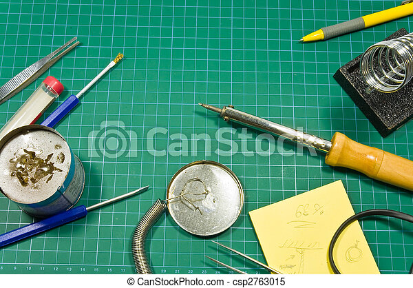 Different soldering hobby tools still life composition. - csp2763015