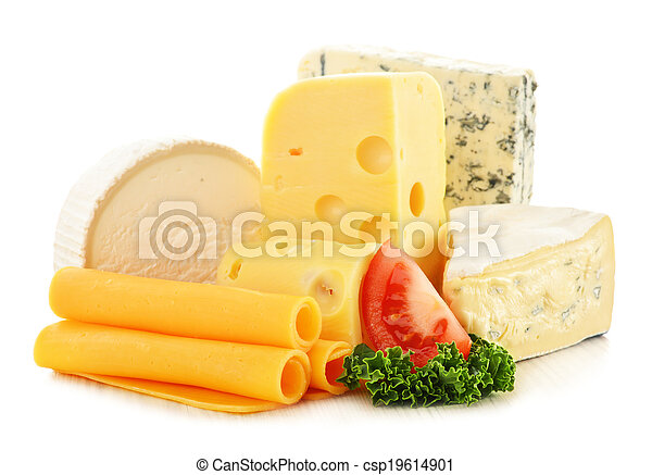 Different sorts of cheese isolated on white background - csp19614901