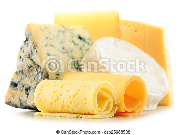 Different sorts of cheese isolated on white background - csp25988538