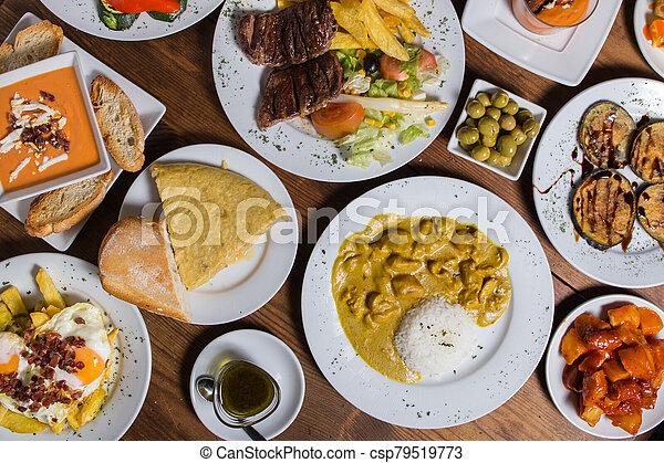 different Spanish tapas foods - csp79519773