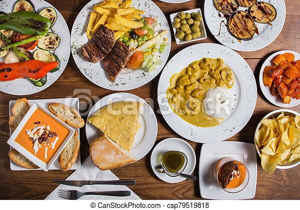 different Spanish tapas foods - csp79519818