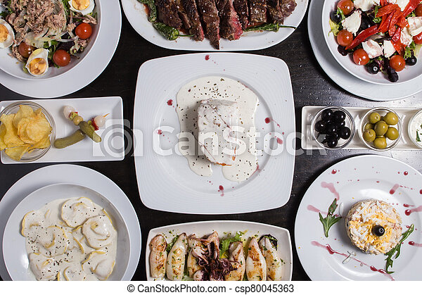different Spanish tapas foods - csp80045363