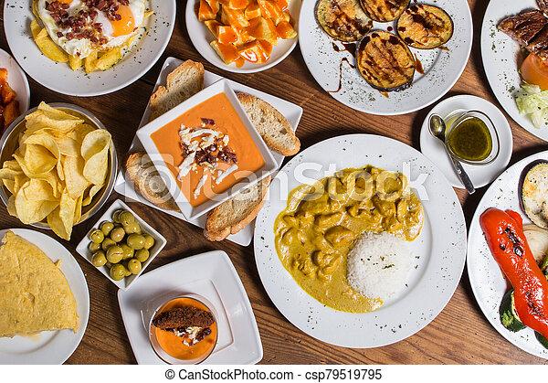different Spanish tapas foods - csp79519795