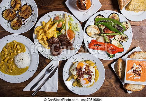different Spanish tapas foods - csp79519804