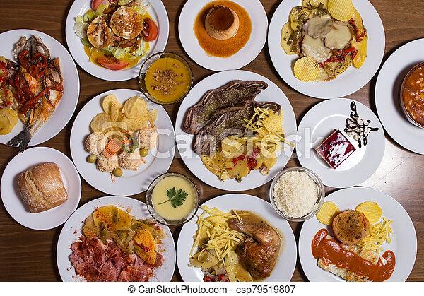 different Spanish tapas foods - csp79519807