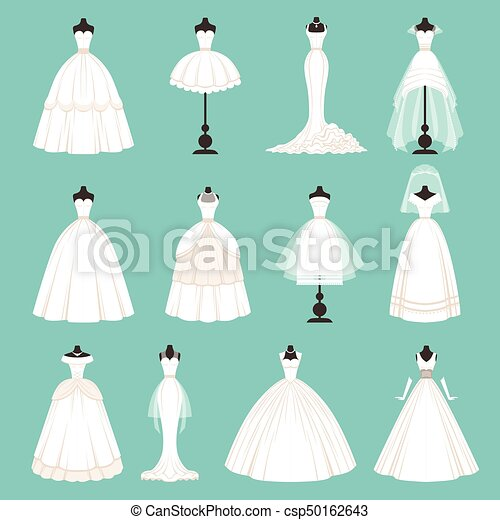 Different styles of brides dresses. vector illustration in cartoon ...
