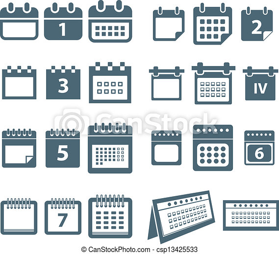Different styles of calendar web icons collection - csp13425533