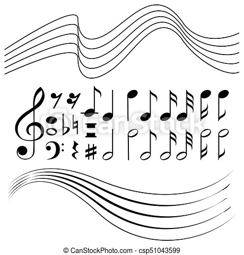 Different Symbols Of Music Notes And Line Paper Illustration