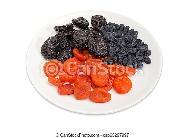 Different traditional dried fruits on dish on a white background - csp63297997