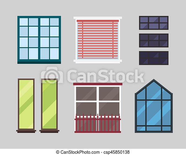 Different types house windows elements isolated set flat style ...