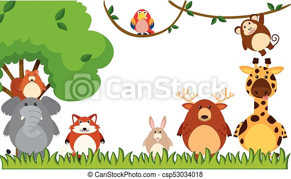 different types of animals in the park illustration vector clip art rh canstockphoto com wildlife clipart black and white wildlife clipart images