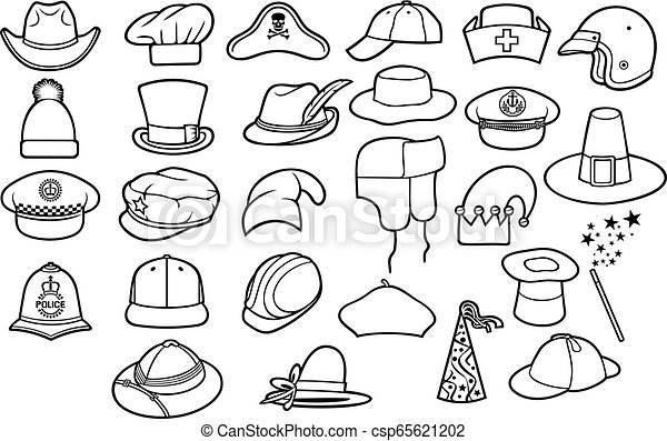 655381d6877d9 Different types of hats thin line icons set (cowboy, pirate, baseball cap,  gentleman, chef, medical nurse, police officer, beret, russian winter cap,  ...