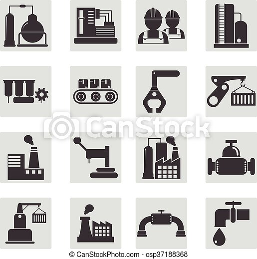 Different types of industrial construction - vector illustration - csp37188368