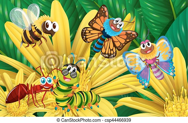 Different types of insects on yellow flower illustration vectors different types of insects on yellow flower csp44466939 mightylinksfo