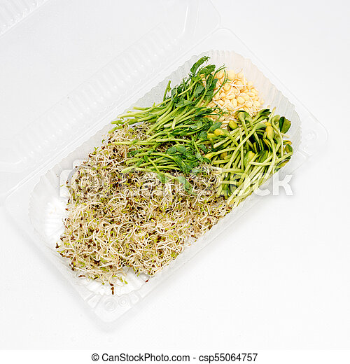 Different Types Of Micro Greens In Plastic Container On Stock