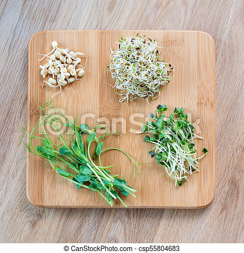 Different Types Of Micro Greens On Wooden Background Pictures