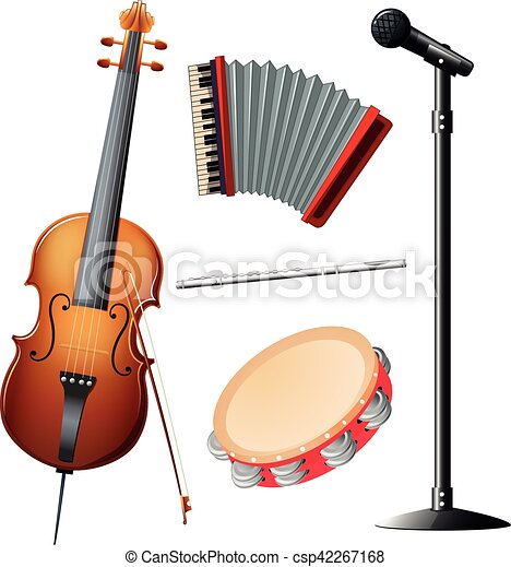 Worksheet Types Of Instruments clip art vector of different types musical instruments csp42267168