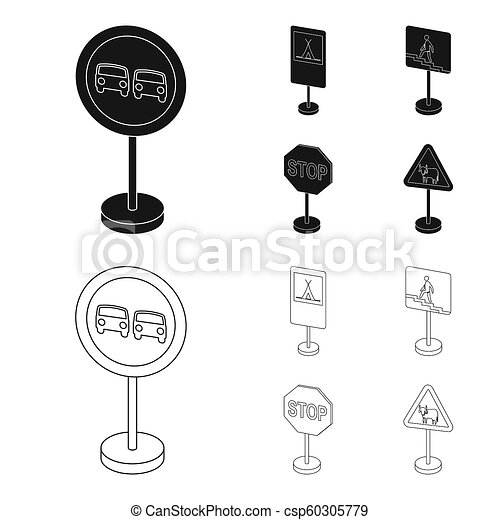 different types of road signs black,outline icons in set collection for  design  warning and
