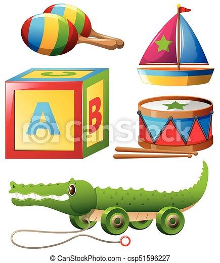 different types of toys in set illustration. Black Bedroom Furniture Sets. Home Design Ideas