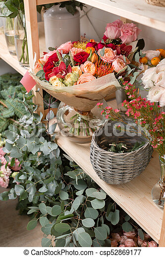 Different varieties fresh spring flowers in refrigerator picture different varieties fresh spring flowers in refrigerator for flowers in flower shop bouquets on mightylinksfo