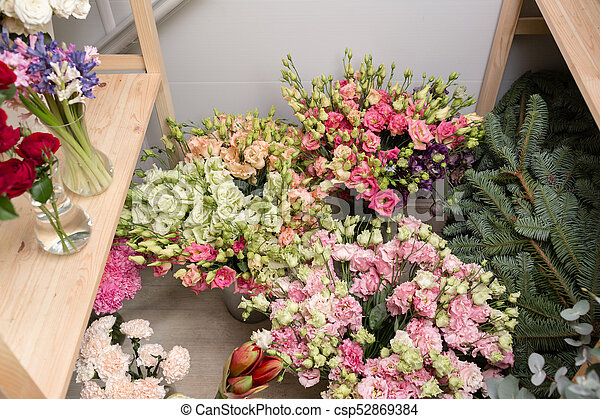 Different varieties fresh spring flowers in refrigerator different varieties fresh spring flowers in refrigerator for flowers in flower shop bouquets on mightylinksfo