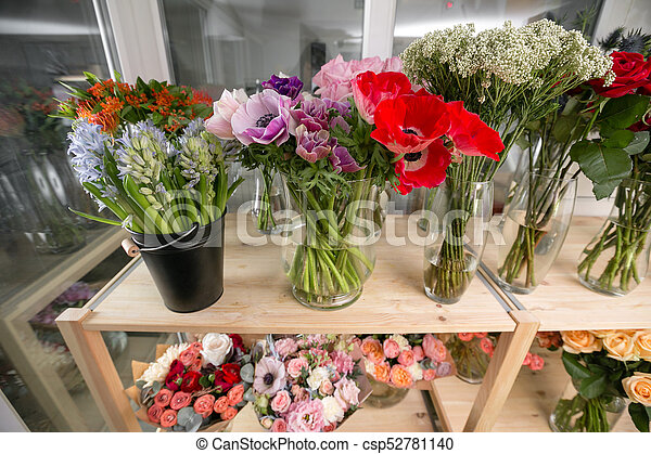Different varieties fresh spring flowers in refrigerator stock different varieties fresh spring flowers in refrigerator for flowers in flower shop bouquets on mightylinksfo