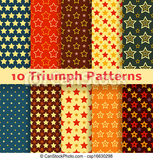 Different vector holiday triumph star shape  seamless pattern - csp16630298
