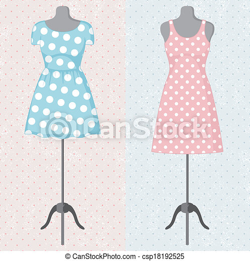Different vintage dresses on a mannequin. Vector - csp18192525