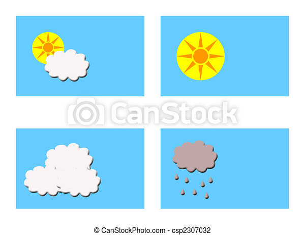 different weathers symbols four rectangular boxes showing different