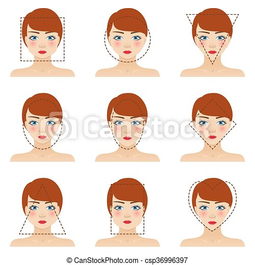 Pleasant Different Womans Face Shapes Set Nine Icons Girls With Blue Natural Hairstyles Runnerswayorg