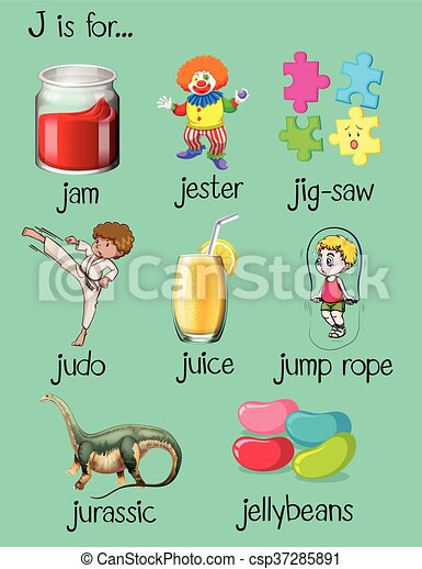 words with letter j different words begin with letter j illustration 44740