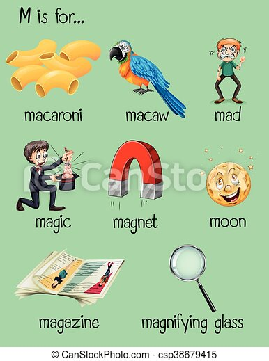 Different words for letter m illustration.