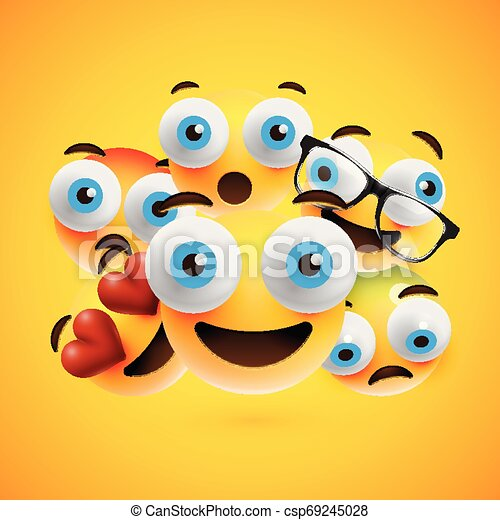 Different yellow smileys on yellow background, vector illustration - csp69245028