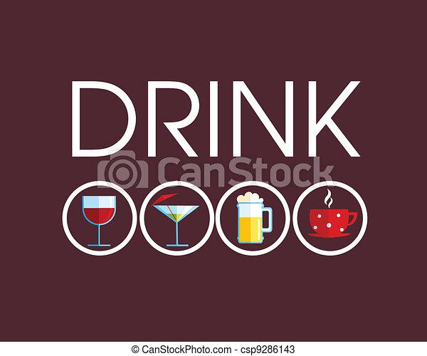 differente, bevanda, bevanda, icone - csp9286143