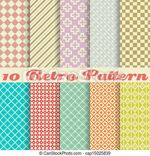 differente, dieci, seamless, (tiling), modelli, vettore, retro - csp15025839