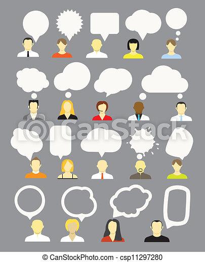 differente, discorso, bolle, collezione, persone - csp11297280