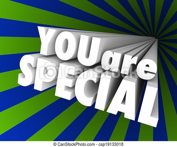 differente, eccezionale, parole, lei, unico, speciale, 3d - csp19133018