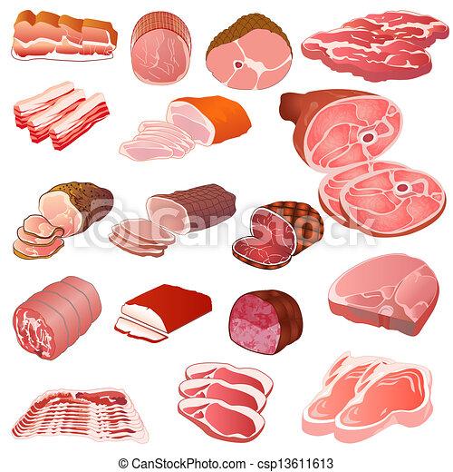 differente, set, generi, carne - csp13611613