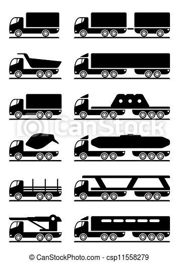 differente, tipi, camion - csp11558279