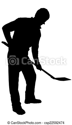 Digging man with shovel silhouette on white.