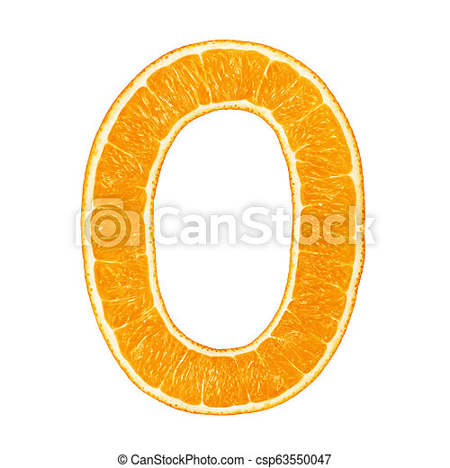 Digit 0 made from orange fruit isolated - csp63550047