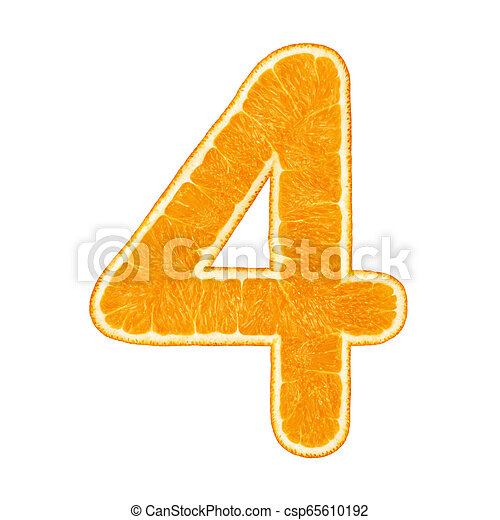 Digit 4 made from orange fruit isolated - csp65610192
