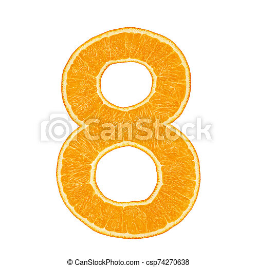 Digit 8 made from orange fruit isolated - csp74270638