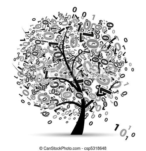 digital, árvore, números, silueta - csp5318648