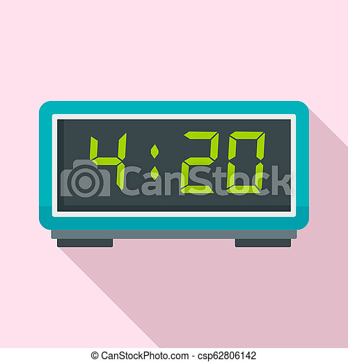 Digital alarm clock icon, flat style - csp62806142