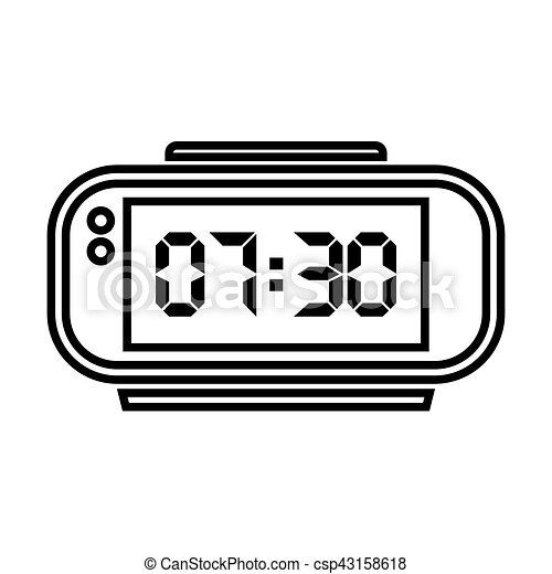 digital alarm clock vector illustration on white vector clip rh canstockphoto com