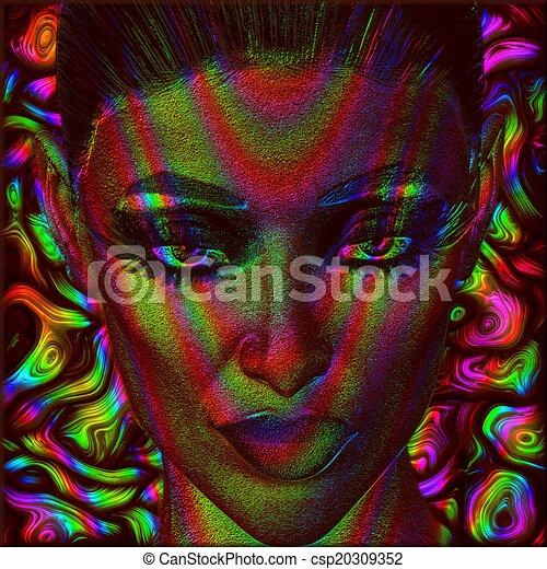 Digital art image of woman's face  - csp20309352