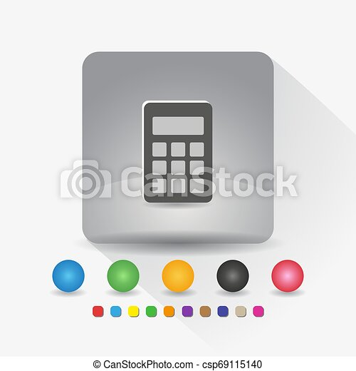 Digital calculator icon. Sign symbol app in gray square shape round corner with long shadow vector illustration and color template. - csp69115140