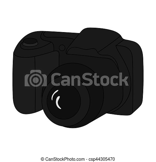 Digital Camera Icon In Monochrome Style Isolated On White Stock