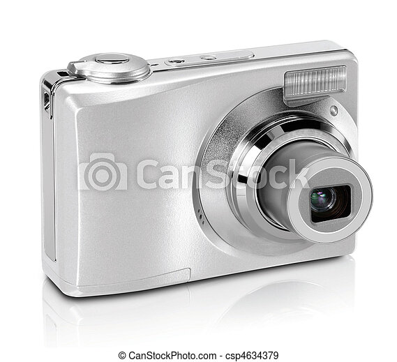 Digital camera isolated on white background - csp4634379